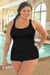 Krinkle Black Plus Size Sheath One Piece Chlorine Resistant Swimsuit