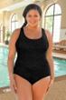Krinkle Black Plus Size Cross Back D-Cup One Piece Chlorine Resistant Swimsuit