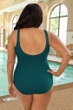 Krinkle Storm Plus Size Diagonal Sheath One Piece Chlorine Resistant Swimsuit