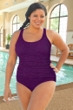 Krinkle Acai Plus Size Shirred One Piece Chlorine Resistant Swimsuit
