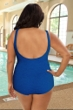 Krinkle Chlorine Resistant Marine Blue Plus Size Mastectomy Scoop Neck Sheath One Piece Swimsuit