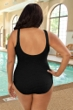 Krinkle Chlorine Resistant Acai and Black Plus Size Color Block Twist Front One Piece Swimsuit