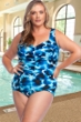 Chlorine Resistant Maxine of Hollywood Stormy Plus Size Center Shirred Girl Leg One Piece Swimsuit