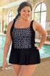 Chlorine Resistant Aquamore Swimmer Dot Plus Size Skater Print Block Princess Seam Swimdress