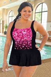 Chlorine Resistant Aquamore Pink Flower Rain Plus Size Skater Swimdress