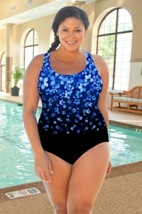Chlorine Resistant Aquamore Blue Flower Rain Plus Size Scoop Neck One Piece Swimsuit