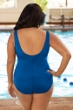 Chlorine Resistant Aquamore Solid Blue Plus Size High Neck One Piece