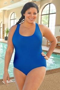 Chlorine Resistant Aquamore Solid Blue Plus Size Scoop Neck One Piece