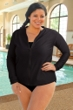 Chlorine Resistant Aquamore Black Plus Size Long Sleeve Zip Up Rashguard