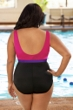 Chlorine Resistant Aquamore Pink and Black Plus Size Color Block High Neck One Piece Swimsuit