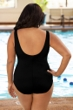 Chlorine Resistant Aquamore Black and White Plus Size Spliced Color Block Scoop Neck One Piece Swimsuit