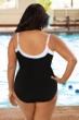 Chlorine Resistant Aquamore Black and White Plus Size Square Neck