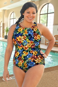 Chlorine Resistant Aquamore Oasis Plus Size High Neck One Piece