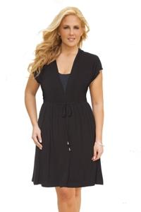 Dotti Plus Size Beachside Beauty Solid Black Hooded Dress