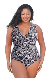 Always For Me White Scroll Plus Size V-Plunge One Piece Swimsuit