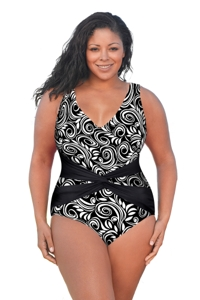 Always For Me White Scroll Plus Size V-Neck Twist Front One Piece Swimsuit