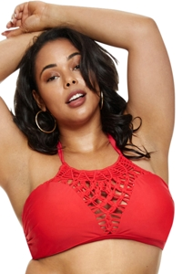 Fashion to Figure Rosario Red Crochet High Neck Halter Bikini Top