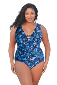 Always For Me Blue Palms Plus Size V-Plunge One Piece Swimsuit