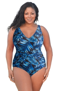 Always For Me Blue Palms Plus Size V-Neck Twist Front One Piece Swimsuit