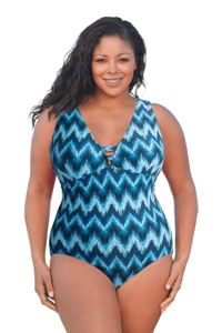 Always For Me Native Peacock Plus Size V-Plunge One Piece Swimsuit