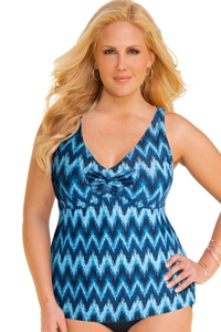 Always For Me Solid Plus Size Ruched A-Line Tankini Top