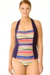 Anne Cole Navy Striped Plus Size Halter One Piece Swimsuit