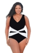 Always For Me Black Plus Size V-Neck Twist Front One Piece Swimsuit