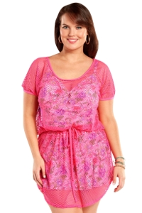 Always For Me Fuchsia Plus Size Fishnet Crochet Cover Up Dress