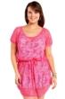 Always For Me Fuchsia Plus Size Fishnet Crochet Cover Up Dress