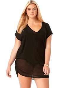 Anne Cole Plus Size Black Mesh V-Neck Tunic