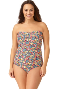 Anne Cole Plus Size Budding Romance Center Ruched One Piece Swimsuit