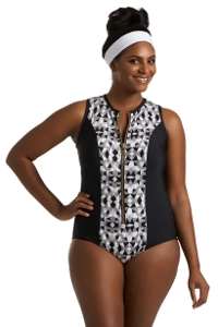 Always For Me Grey Plus Size Jaden Scuba One Piece Swimsuit