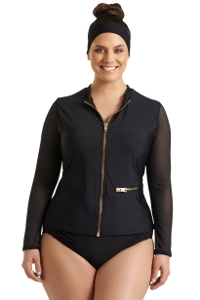 Always For Me Black Plus Size Harper Mesh Sleeve Rash Guard
