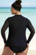 Always For Me Black Plus Size Harper Mesh Sleeve Rash Guard