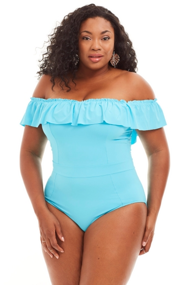 Bleu Rob Beattie Blue Coast to Coast Plus Size Off the Shoulder Banded One Piece Swimsuit