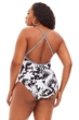 Bleu Rob Beattie Black and White Plus Size Lattice Front High Neck One Piece Swimsuit