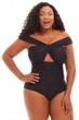Jessica Simpson Black Plus Size Off the Shoulder One Piece Swimsuit
