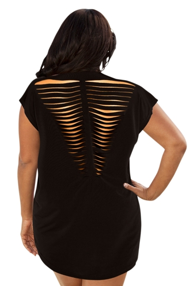 Always For Me Black Plus Size Jersey Cut Out Cover Up Dress