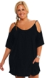 Always For Me Black Plus Size Open Shoulder Cover Up Tunic