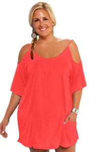 Always For Me Coral Plus Size Open Shoulder Cover Up Tunic