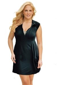 J Valdi Plus Size Black Rayon Spandex Jersey Zip Front Dress