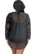 Always For Me Clipped Jacquard Black Plus Size Long Sleeve V-Neck Tunic