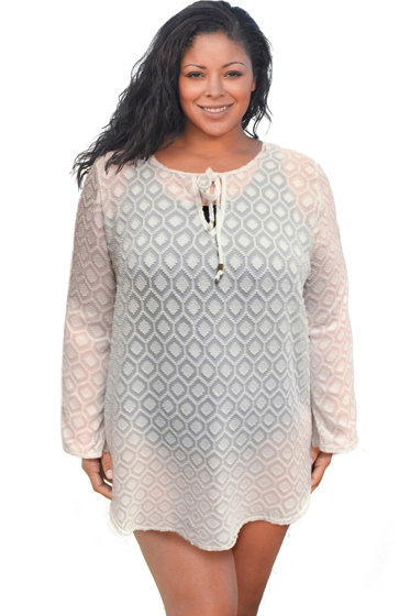 Always For Me Clipped Jacquard White Plus Size Long Sleeve V-Neck Tunic