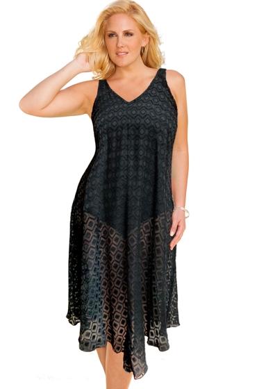 Always For Me Clipped Jacquard Black Plus Size V-Bottom Cover Up Dress