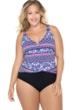 Christina Casablanca Stripe Plus Size D-Cup V-Neck Cross Over One Piece Swimsuit