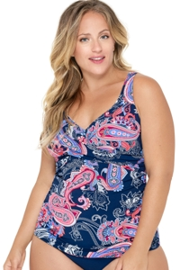 Christina Sorrente Paisley Plus Size V-Neck Cross Over Tankini Top