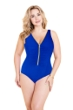 Miraclesuit Blue Plus Size Blitz Zip Front One Piece Swimsuit