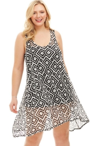 Always For Me Black and White Geo Pattern Plus Size Racerback Cover Up Dress