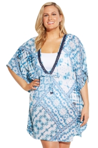 Always For Me Blue and White Summer Waves Plus Size Cover Up Dress