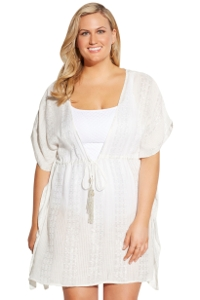Always For Me Totally Silver Metallic Plus Size Cover Up Dress